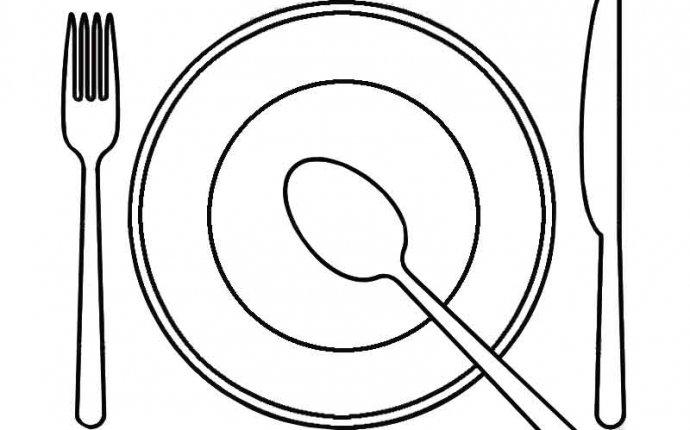 Посуда. Картинки для раскрашивания. Тарелки, вилки, ножи, чашки